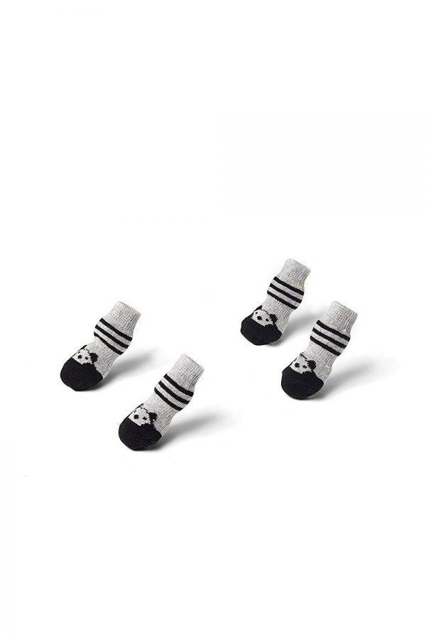 Toy Small Dog Non Slip 2 sock packs (8 pcs) For Yorkie Pom Maltese Chihuahua (Small Plus Size, black, gray, panda) 5