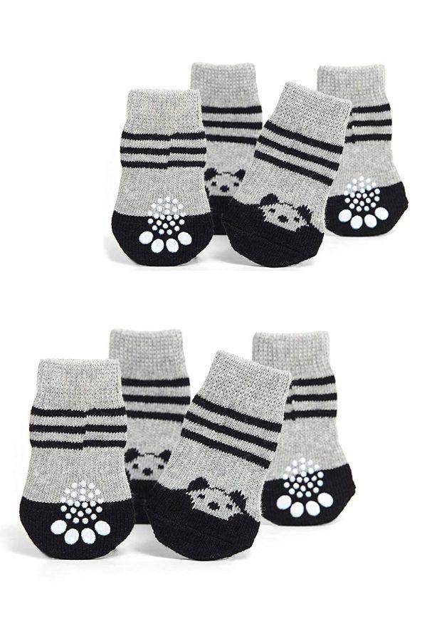 Toy Small Dog Non Slip 2 sock packs (8 pcs) For Yorkie Pom Maltese Chihuahua (Small Plus Size, black, gray, panda)