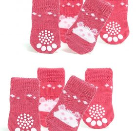 Toy Small Dog Non Slip 2 sock packs (8 pcs) For Yorkie Pom Maltese Chihuahua (Small Size, pink, white, teddy bear)