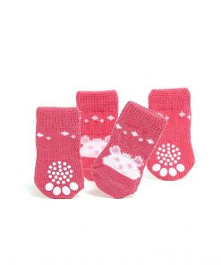 Toy Small Dog Non Slip 2 sock packs (8 pcs) For Yorkie Pom Maltese Chihuahua (Small Size, pink, white, teddy bear) 3