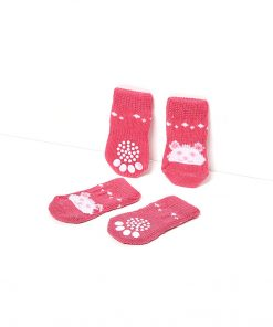 Toy Small Dog Non Slip 2 sock packs (8 pcs) For Yorkie Pom Maltese Chihuahua (Small Size, pink, white, teddy bear) 4