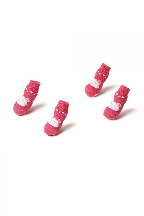 Toy Small Dog Non Slip 2 sock packs (8 pcs) For Yorkie Pom Maltese Chihuahua (Small Size, pink, white, teddy bear) 5