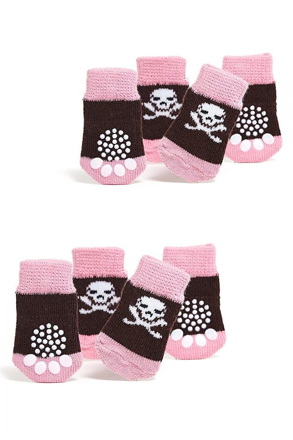 Toy Small Dog Non Slip 2 sock packs (8 pcs) For Yorkie Pom Maltese Chihuahua (Very Small Size, pink, black, jolly roger)
