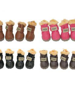 WINSOON Dog Australia Boots Pet Antiskid Shoes Winter Warm Skidproof Sneakers Paw Protectors 4-pcs Set (Size 1, Dark Brown)