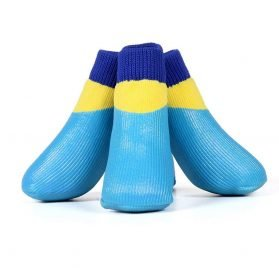 abcGoodefg 4pcs Pet Dog Outdoor Socks, Waterproof Rainproof Nonslip Shoes Boots Sneaker, Cotton Socks+Rubber Sole, Free Magic Shoes Band! (#0, Blue)