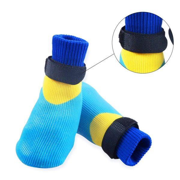 abcGoodefg 4pcs Pet Dog Outdoor Socks, Waterproof Rainproof Nonslip Shoes Boots Sneaker, Cotton Socks+Rubber Sole, Free Magic Shoes Band! (#0, Blue) 4