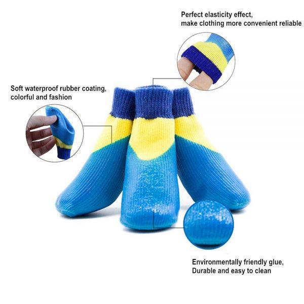 abcGoodefg 4pcs Pet Dog Outdoor Socks, Waterproof Rainproof Nonslip Shoes Boots Sneaker, Cotton Socks+Rubber Sole, Free Magic Shoes Band! (#0, Blue) 5