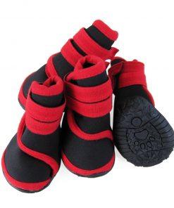 abcGoodefg 4pcs Pet Dog Shoes-Puppy Nonslip Sport Shoes Sneaker Boots Rubber Sole - Size XS (XS, Red) 2