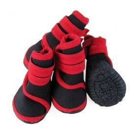 abcGoodefg 4pcs Pet Dog Shoes-Puppy Nonslip Sport Shoes Sneaker Boots Rubber Sole - Size XS (XS, Red) 2
