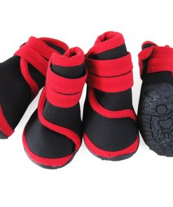 abcGoodefg 4pcs Pet Dog Shoes-Puppy Nonslip Sport Shoes Sneaker Boots Rubber Sole - Size XS (XS, Red)