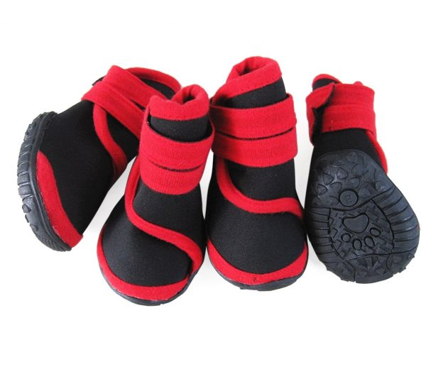 abcGoodefg 4pcs Pet Dog Shoes-Puppy Nonslip Sport Shoes Sneaker Boots Rubber Sole - Size XS (XS, Red)