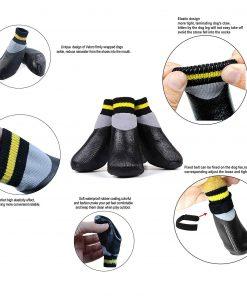 abcGoodefg 4pcs Pet Dog Socks-Puppy Pet Dog Outdoor Waterproof Shoes Socks, Rainproof Nonslip Shoes Boots Sneaker Cotton Socks+Rubber Sole 4