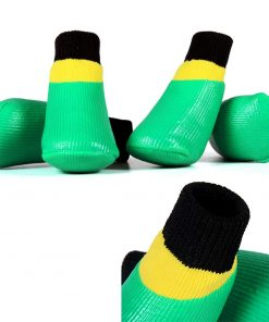 abcGoodefg 4pcs Pet Dog Socks-Puppy Pet Dog Outdoor Waterproof Shoes Socks, Rainproof Nonslip Shoes Boots Sneaker Cotton Socks+Rubber Sole 5