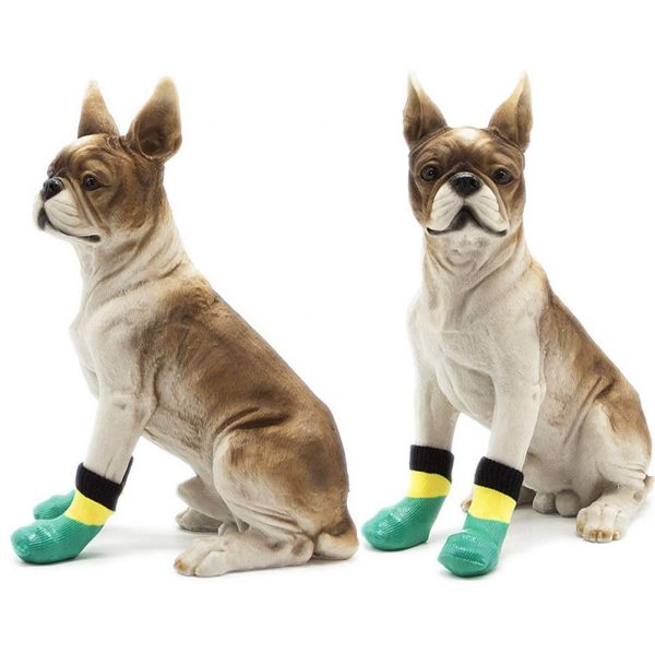 abcGoodefg 4pcs Pet Dog Socks-Puppy Pet Dog Outdoor Waterproof Shoes Socks, Rainproof Nonslip Shoes Boots Sneaker Cotton Socks+Rubber Sole 6