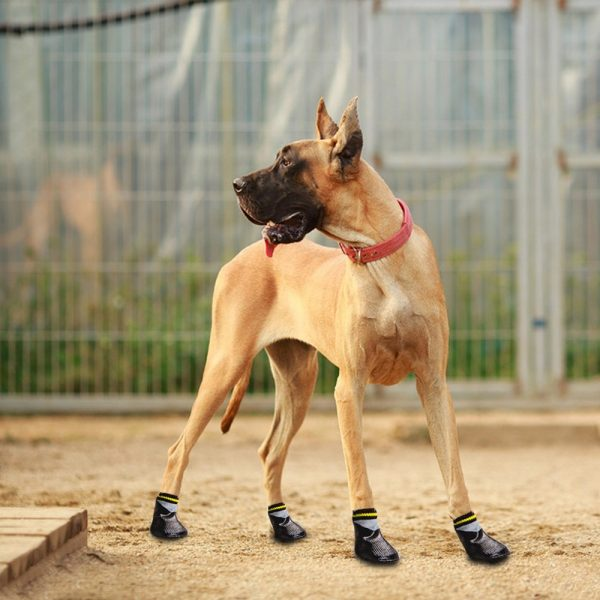 abcGoodefg 4pcs Pet Dog Socks-Puppy Pet Dog Outdoor Waterproof Shoes Socks, Rainproof Nonslip Shoes Boots Sneaker Cotton Socks+Rubber Sole 7