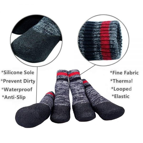abcGoodefg Pet Dog Puppy Thickening Thermal Looped Fabric Waterproof Nonslip Sports Socks Shoes Boots, Rubber Sole, Comfortable Design 4