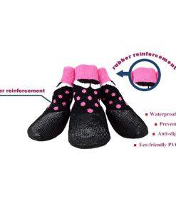 abcGoodefg Pet Dog Puppy Waterproof Nonslip Sports Socks Shoes Boots, Rubber Sole, Comfortable Design (#0, Black+Pink Spot) 2