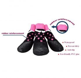 abcGoodefg Pet Dog Puppy Waterproof Nonslip Sports Socks Shoes Boots, Rubber Sole, Comfortable Design (#0, Black+Pink Spot) 2