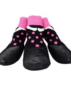 abcGoodefg Pet Dog Puppy Waterproof Nonslip Sports Socks Shoes Boots, Rubber Sole, Comfortable Design (#0, Black+Pink Spot)