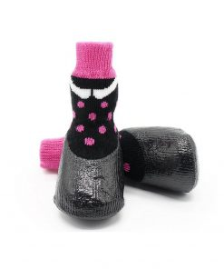 abcGoodefg Pet Dog Puppy Waterproof Nonslip Sports Socks Shoes Boots, Rubber Sole, Comfortable Design (#0, Black+Pink Spot) 3