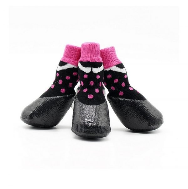 abcGoodefg Pet Dog Puppy Waterproof Nonslip Sports Socks Shoes Boots, Rubber Sole, Comfortable Design (#0, Black+Pink Spot) 5