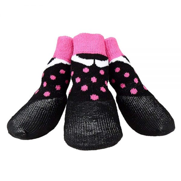 abcGoodefg Pet Dog Puppy Waterproof Nonslip Sports Socks Shoes Boots, Rubber Sole, Comfortable Design (#0, Black+Pink Spot)