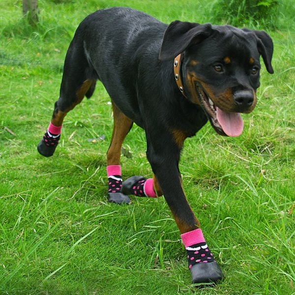 abcGoodefg Pet Dog Puppy Waterproof Nonslip Sports Socks Shoes Boots, Rubber Sole, Comfortable Design (#0, Black+Pink Spot) 7