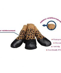 abcGoodefg Pet Dog Puppy Waterproof Nonslip Sports Socks Shoes Boots, Rubber Sole, Comfortable Design (#0, Leopard) 2