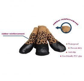 abcGoodefg Pet Dog Puppy Waterproof Nonslip Sports Socks Shoes Boots, Rubber Sole, Comfortable Design (#0, Leopard) 2