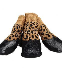 abcGoodefg Pet Dog Puppy Waterproof Nonslip Sports Socks Shoes Boots, Rubber Sole, Comfortable Design (#0, Leopard)