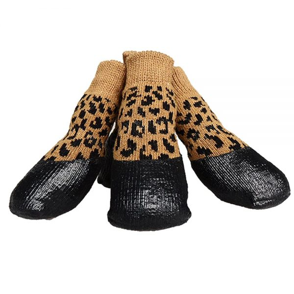 abcGoodefg Pet Dog Puppy Waterproof Nonslip Sports Socks Shoes Boots, Rubber Sole, Comfortable Design (#0, Leopard)