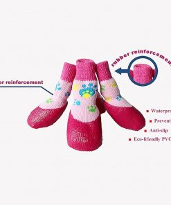 abcGoodefg Pet Dog Puppy Waterproof Nonslip Sports Socks Shoes Boots, Rubber Sole, Comfortable Design (#0, Pink) 2