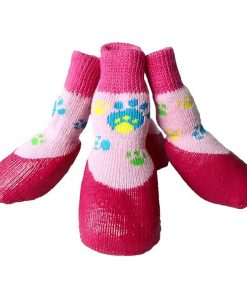 abcGoodefg Pet Dog Puppy Waterproof Nonslip Sports Socks Shoes Boots, Rubber Sole, Comfortable Design (#0, Pink)