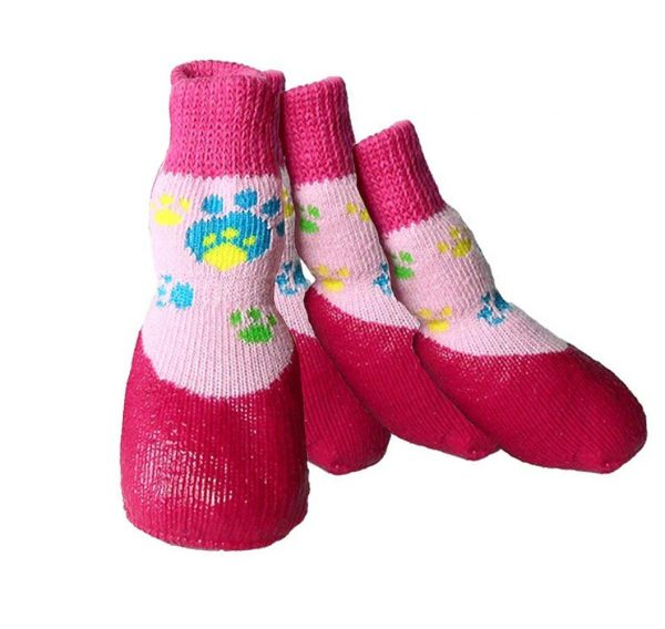 abcGoodefg Pet Dog Puppy Waterproof Nonslip Sports Socks Shoes Boots, Rubber Sole, Comfortable Design (#0, Pink) 5