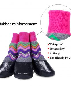 abcGoodefg Pet Dog Puppy Waterproof Nonslip Sports Socks Shoes Boots, Rubber Sole, Comfortable Design for Small Medium Large Pet Dog. (Ethnic, 0) 3