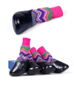 abcGoodefg Pet Dog Puppy Waterproof Nonslip Sports Socks Shoes Boots, Rubber Sole, Comfortable Design for Small Medium Large Pet Dog. (Ethnic, 0) 7