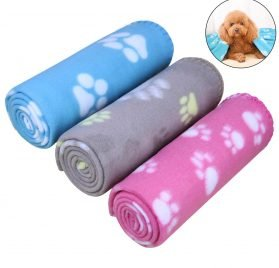 "AK KYC 3 Pack 40"" x 28"" Puppy Blanket Cushion Dog Cat Fleece Blankets Pet Sleep Mat Pad Bed Cover with Paw Print Kitten Soft Warm Blanket"