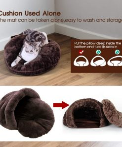 Cat Bed Plush Pet Triangle Nest for Small Dogs and Cat Indoor Pet Caves (24x24x16.5In) 2