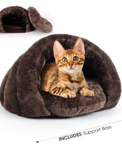 Cat Bed Plush Pet Triangle Nest for Small Dogs and Cat Indoor Pet Caves (24x24x16.5In)