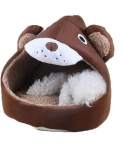 Cute Cartoon Soft Warm Short Plush Washable and Detachable Animal Shape Pet Dog Bed House kennel With Pad 2