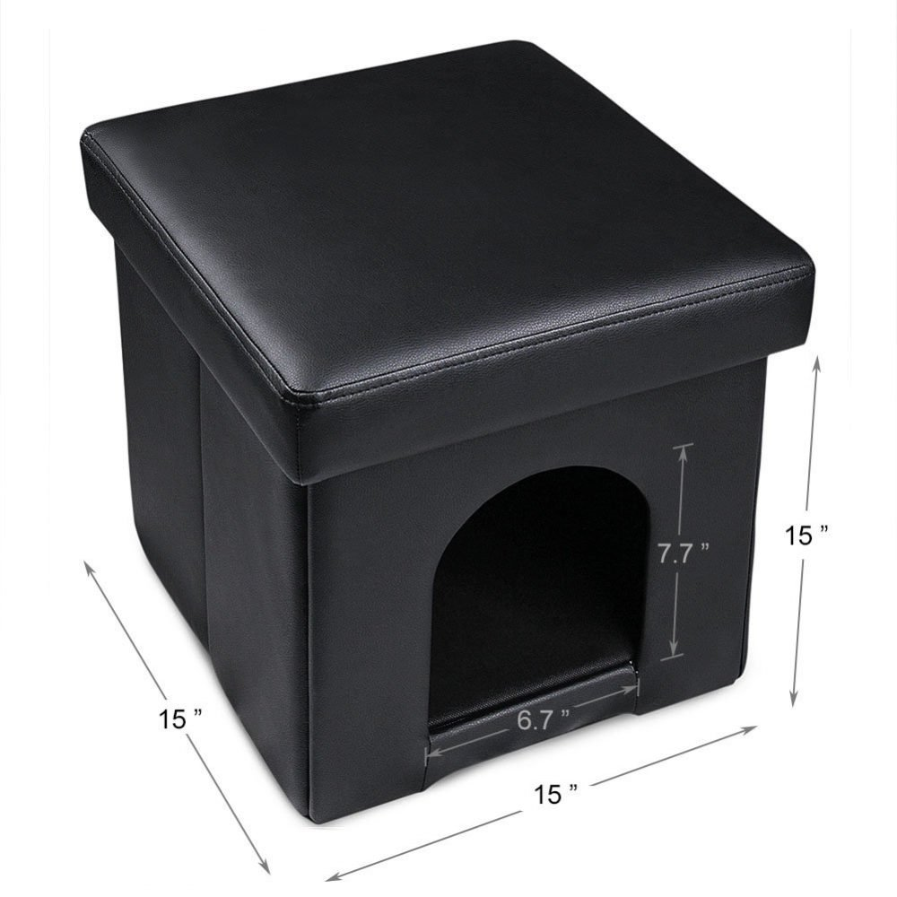 Dekinmax Cat Bed Ottoman Small Dog Rabbit Condo Bed Cat