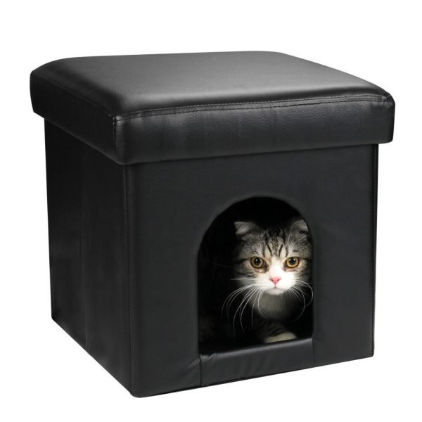 DEKINMAX Cat Bed Ottoman, Small Dog Rabbit Condo Bed Cat Cube Pet House, 2 in 1 Collapsible PU Leather Footstool