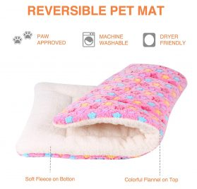 Mora Pets Ultra Soft Pet (Dog Cat) Bed Mat with Cute Prints | Reversible Fleece Dog Crate Kennel Pad | Machine Washable Pet Bed Liner (X-Small, Pink) 2