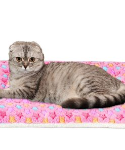 Mora Pets Ultra Soft Pet (Dog Cat) Bed Mat with Cute Prints | Reversible Fleece Dog Crate Kennel Pad | Machine Washable Pet Bed Liner (X-Small, Pink)