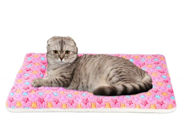 Mora Pets Ultra Soft Pet (Dog Cat) Bed Mat with Cute Prints   Reversible Fleece Dog Crate Kennel Pad   Machine Washable Pet Bed Liner (X-Small, Pink)