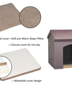 Pawland Collapsible Leather Pet Haven Indoor Dog House For Small Dog