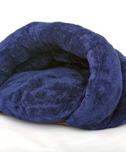 PLS Birdsong The Original Cuddle Pouch Pet Bed (Small), Dog Cave, Covered Hooded Pet Bed, Cosy Burrower Cats Dogs, Blue 2