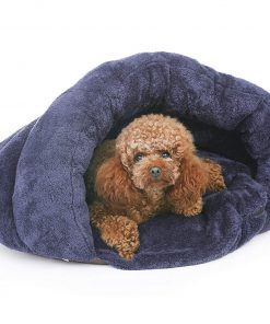 PLS Birdsong The Original Cuddle Pouch Pet Bed (Small), Dog Cave, Covered Hooded Pet Bed, Cosy Burrower Cats Dogs, Blue