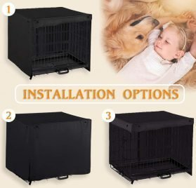PONY DANCE Pets Cage Cover - Dogs Metal Crate Kennel Covers Durable Security Shade Light Block Breathable Bird Puppy Animal Cat Square Universal House Cover for Better Sleep 2
