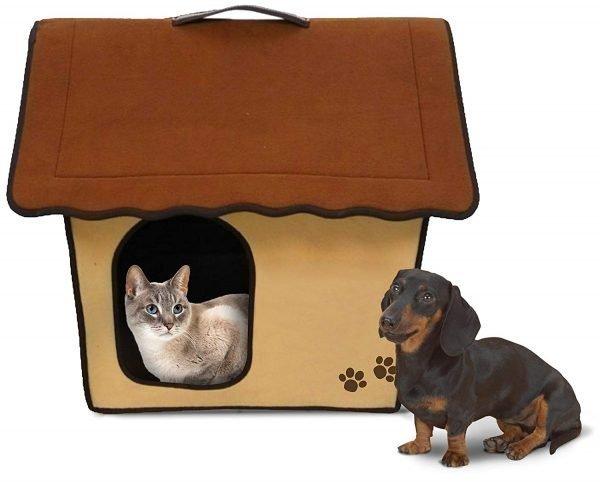 Penn Plax Portable Soft Dog House For Smaller Dogs, Khaki